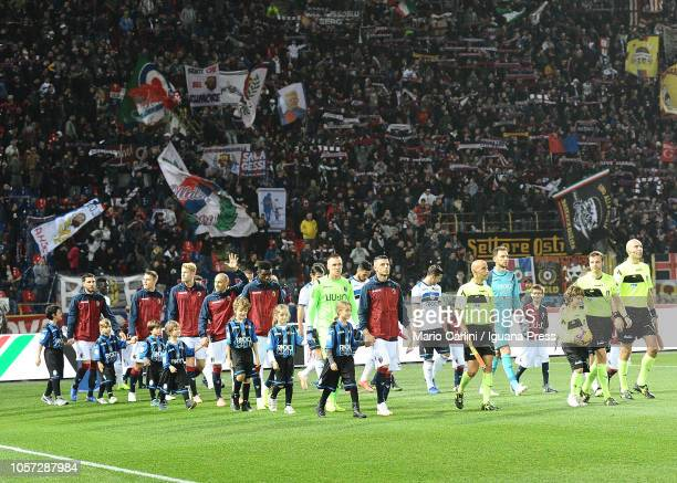Players of Bologna FC and Atalanta BC enter the pitch prior the Serie A match between Bologna FC and Atalanta BC at Stadio Renato Dall'Ara on...