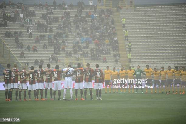 players of Bologna FC and Hellas Verona FC line up for a minute of mourning for Cesarina Cervellati former player and head coach of Bologna FC who...