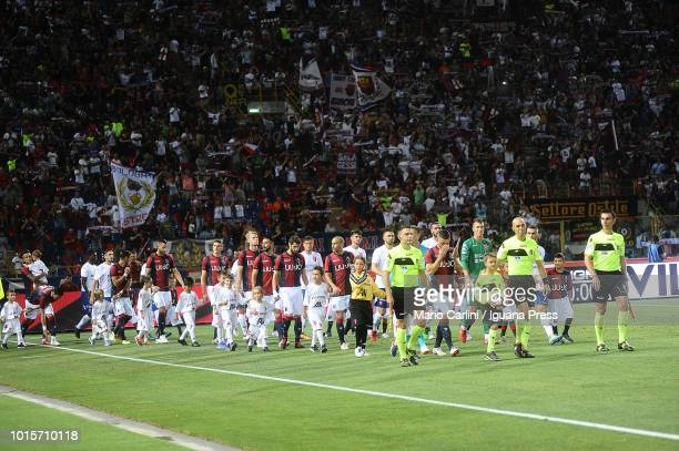 Players of Bologna FC and Padova get the pitch prior the beginning of the Coppa Italia match between Bologna FC and Padova at Stadio Renato Dall'Ara...