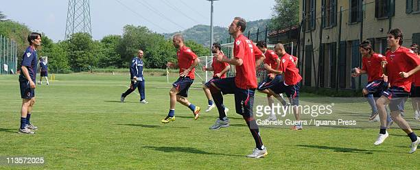 Players of Bologna FC at Casteldebole in action during the training session at Casteldebole center on May 3 2011 in Bologna Italy