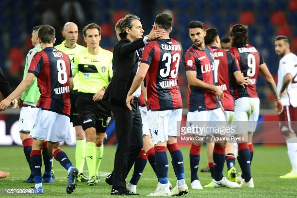 Players of Bologna FC celebrate at the end of the Serie A match between Bologna FC and Torino FC at Stadio Renato Dall'Ara on October 21 2018 in...