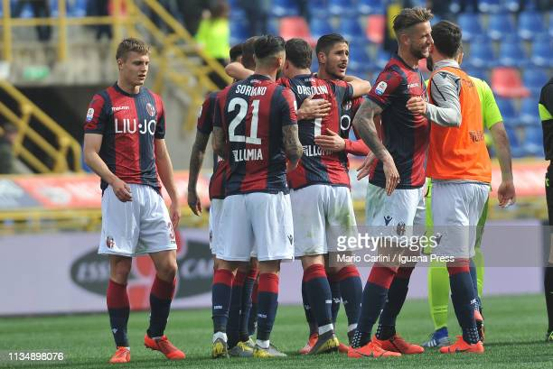 players of Bologna FC celebrate at the end of the Serie A match between Bologna FC and Cagliari at Stadio Renato Dall'Ara on March 10 2019 in Bologna...