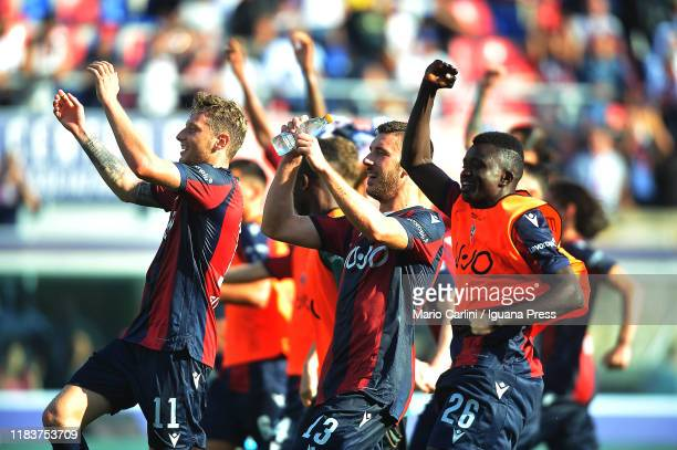 Players of Bologna FC celebrate at the end of the Serie A match between Bologna FC and UC Sampdoria at Stadio Renato Dall'Ara on October 27 2019 in...