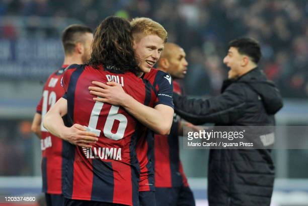 players of Bologna FC celebrate at the end of the Serie A match between Bologna FC and Brescia Calcio at Stadio Renato Dall'Ara on February 01 2020...