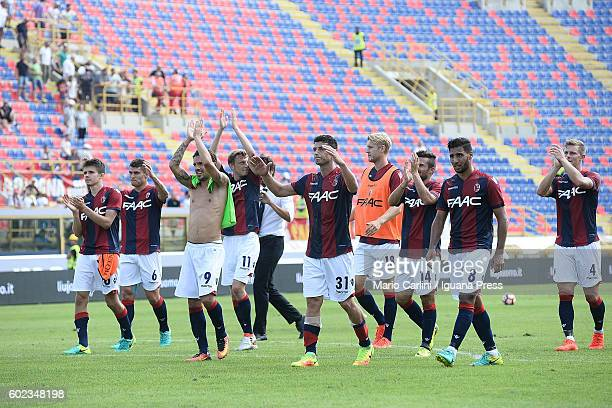 players of Bologna FC celebrate at the end of the Serie a match between Bologna FC and Cagliari Calcio at Stadio Renato Dall'Ara on September 11 2016...