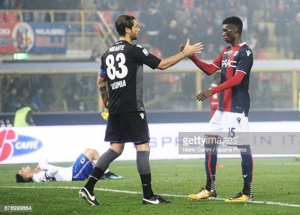players of Bologna FC celebrate at the end of the Serie A match between Bologna FC and UC Sampdoria at Stadio Renato Dall'Ara on November 25 2017 in...
