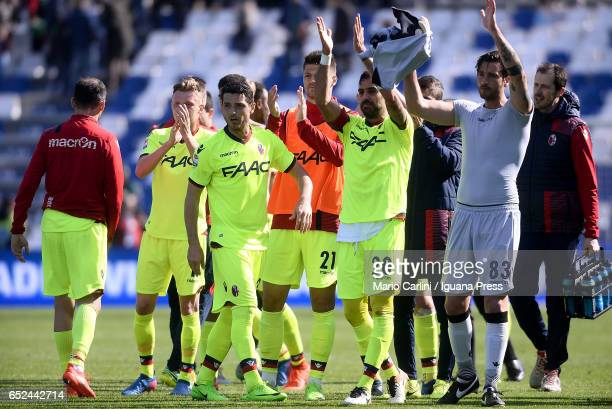 Players of Bologna FC celebrate at the end of the Serie A match between US Sassuolo and Bologna FC at Mapei Stadium Citta' del Tricolore on March 12...