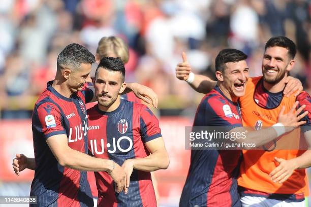 players of Bologna FC celebrates at the end of the Serie A match between Bologna FC and UC Sampdoria at Stadio Renato Dall'Ara on April 20 2019 in...
