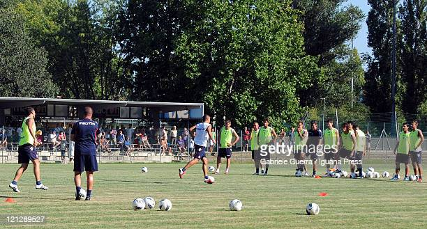 Players of Bologna FC in action during a training session at Nicolo Galli Center on August 17 2011 in Bologna Italy