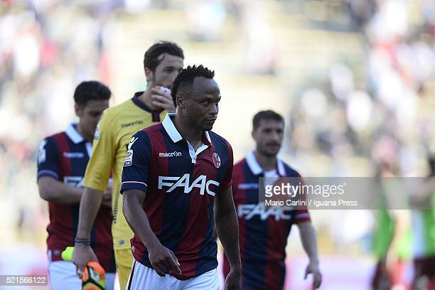 players of Bologna FC look dejected at the end of the Serie A match between Bologna FC and Torino FC at Stadio Renato Dall'Ara on April 16 2016 in...