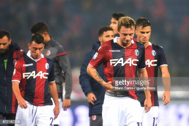 Players of Bologna FC look dejected at the end of the Serie A match between Bologna FC and FC Crotone at Stadio Renato Dall'Ara on November 4 2017 in...