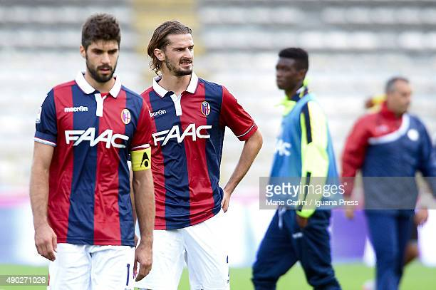 players of Bologna FC looks dejected at the end of the Serie A match between Bologna FC and Udinese Calcio at Stadio Renato Dall'Ara on September 27...