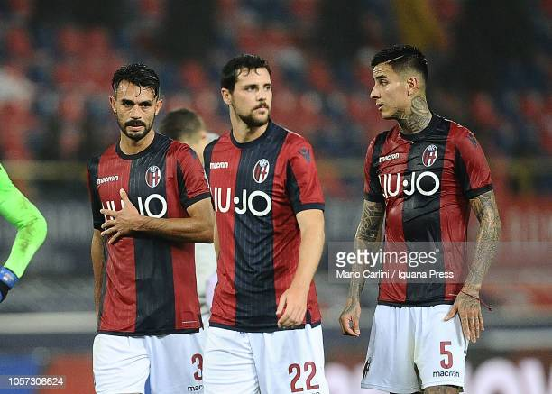 Players of Bologna FC react at the end of the Serie A match between Bologna FC and Atalanta BC at Stadio Renato Dall'Ara on November 4 2018 in...