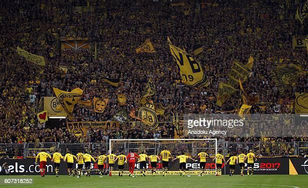 Players of Borussia Dortmund celebrate after wining the Bundesliga soccer match between Borussia Dortmund and SV Darmstadt 98 at the SignalIduna...