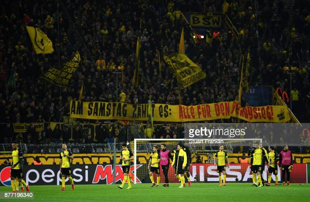 Players of Borussia Dortmund looks dejected after the UEFA Champions League group H match between Borussia Dortmund and Tottenham Hotspur at Signal...