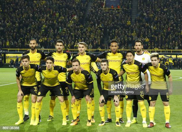 Players of Borussia Dortmund pose for a photo ahead of the UEFA Champions League Group H soccer match between Borussia Dortmund and APOEL Nicosia at...