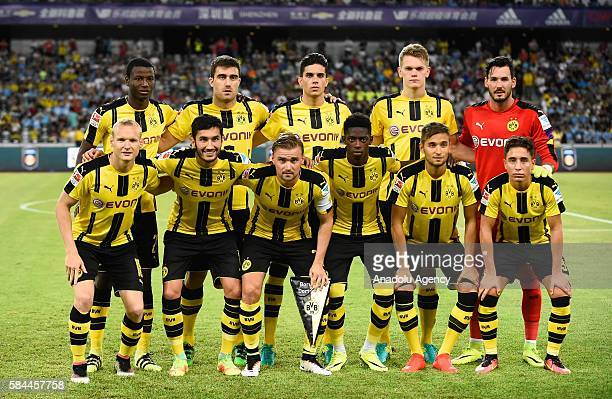 Players of Borussia Dortmund pose for a photo before the 2016 International Champions Cup match between Manchester City and Borussia Dortmund at...