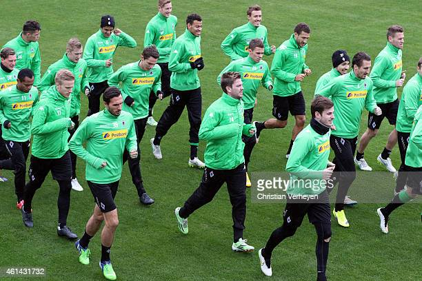 Players of Borussia Moenchengladbach during a training session on day five of the Borussia Moenchengladbach training camp on January 12 2015 in Belek...