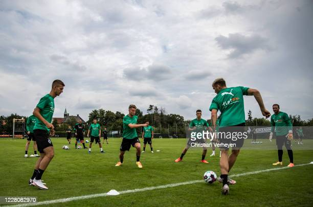 Players of Borussia Moenchengladbach in action during the Training Camp of Borussia Moenchengladbach at Klosterpforte on August 17, 2020 in...