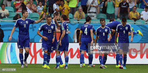 Players of BosnianHerzegovina celebrate after scoring during the 2014 FIFA World Cup Group F soccer match between BosniaHerzegovina and Iran at the...