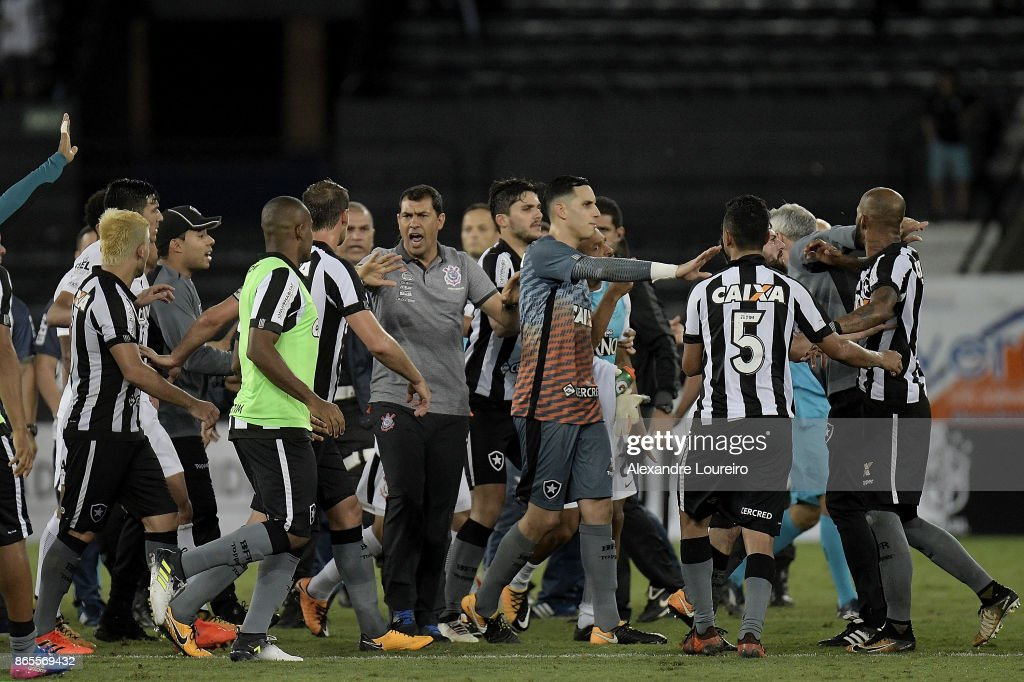 Players of Botafogo and Corinthians scuffle after the match between Botafogo and Corinthians as part of Brasileirao Series A 2017 at Engenhao Stadium on October 23, 2017 in Rio de Janeiro, Brazil.