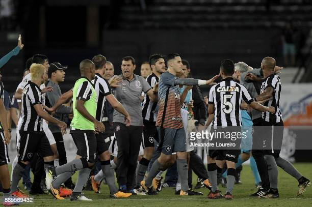 Players of Botafogo and Corinthians scuffle after the match between Botafogo and Corinthians as part of Brasileirao Series A 2017 at Engenhao Stadium...