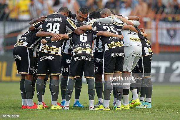 Players of Botafogo before the match between Botafogo and Sport Recife for the Brazilian Cup 2014 at Raulino de Oliveira stadium on October 19 2014...