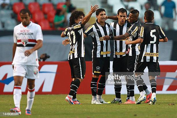 Players of Botafogo celebrate a scored goal aganist Sao Paulo during a matchbetween Sao Paulo and Botafogo as part of Serie A 2012 at Engenhao...