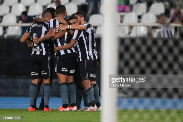Players of Botafogo celebrate a scored goal during a match between Botafogo and Bahia as part of Brasileirao Series A 2019 at Nilton Santos Stadium...