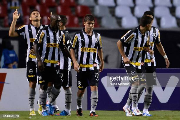 Players of Botafogo celebrate a scored goal during a match between Botafogo and Vasco as part of the Brazilian Championship Serie A at Engenhao...