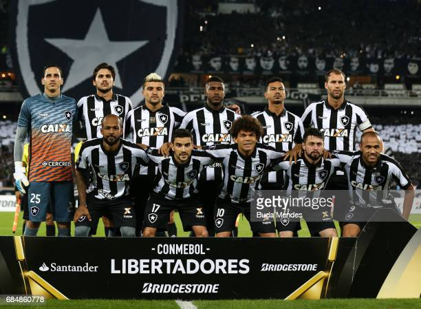 Players of Botafogo pose for photographers before a match between Botafogo and Atletico Nacional as part of Copa Bridgestone Libertadores 2017 at...