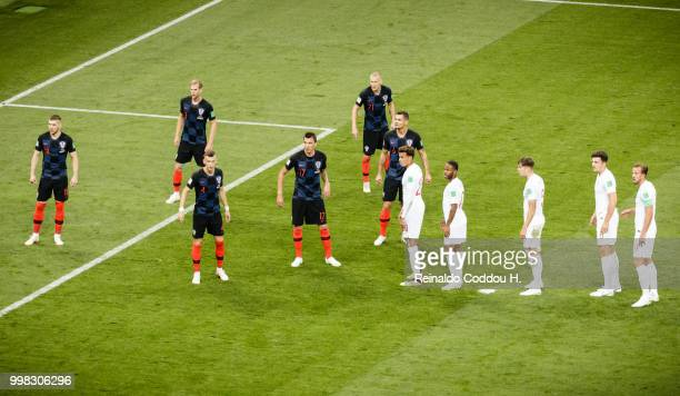 Players of both teams await a corner kick during the 2018 FIFA World Cup Russia Semi Final match between England and Croatia at Luzhniki Stadium on...
