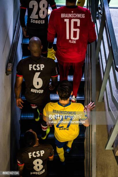 Players of both teams go out of the player tunnel prior to the Second Bundesliga match between Eintracht Braunschweig and FC St Pauli at Eintracht...