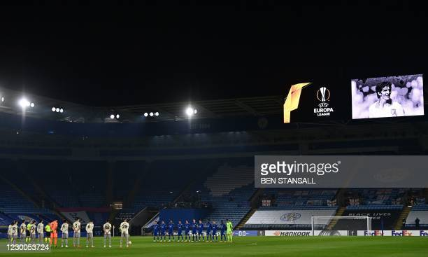Players of both teams observe a minute of silence as they pay their respects to the former Italian international Paolo Rossi ahead of the UEFA Europa...