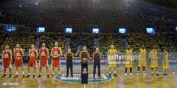 Players of both teams posing before the 20142015 Turkish Airlines Euroleague Basketball Regular Season Date 2 between Limoges CSP v Cedevita Zagreb...