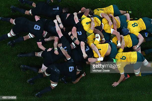 Players of both teams scrum down during the 2015 Rugby World Cup Final match between New Zealand All Blacks and Australia at Twickenham Stadium on...