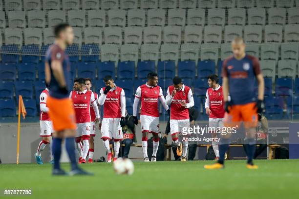 Players of Braga celebrate after scoring a goal during UEFA Europa League Group C soccer match between Medipol Basaksehir and Braga at the Fatih...