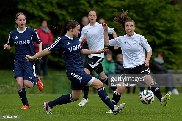 Players of Brandenburg and Niedersachsen battle for the ball during the U16 Girl's Federal Cup match between Niedersachsen and Brandenburg at...