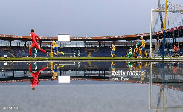 Players of Braunschweig and of Bremen in action during the friendly match between Eintracht Braunschweig and Werder Bremen at Eintracht Stadion on...