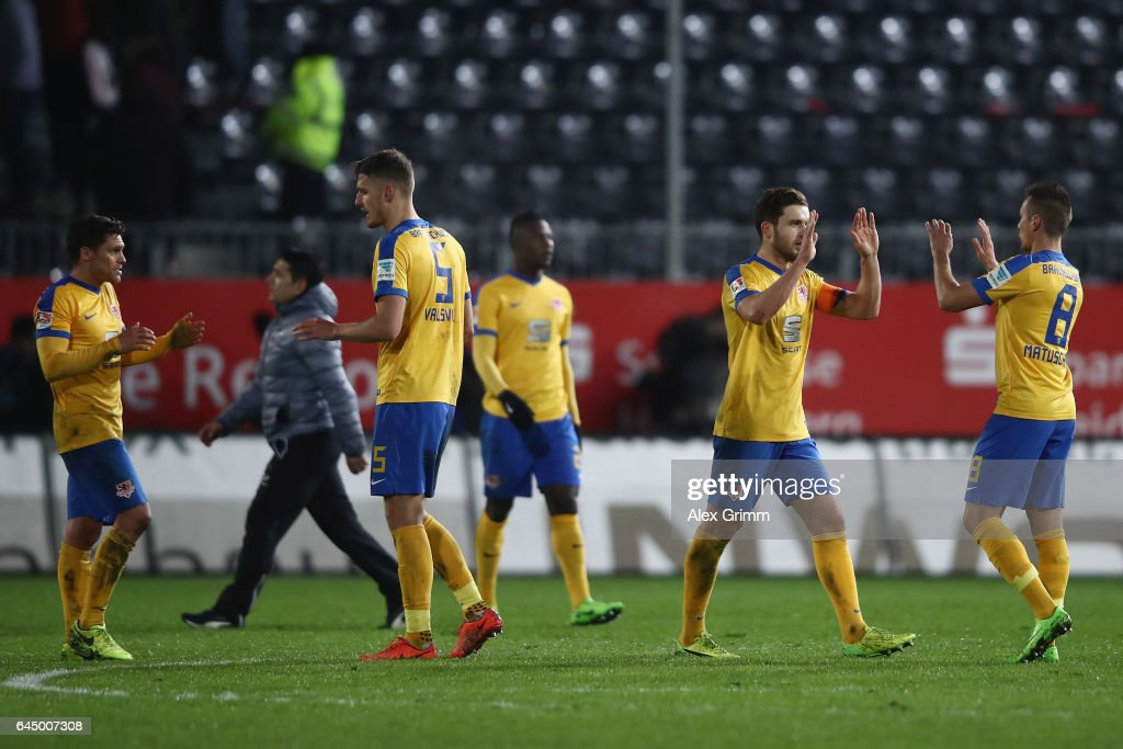Players of Braunschweig celebrate after the Second Bundesliga match between SV Sandhausen and Eintracht Braunschweig at Hardtwaldstadion on February 24, 2017 in Sandhausen, Germany.
