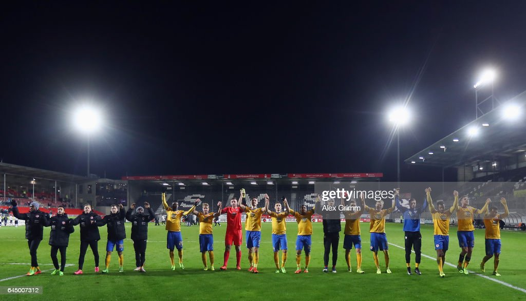 Players of Braunschweig celebrate with the fans after the Second Bundesliga match between SV Sandhausen and Eintracht Braunschweig at Hardtwaldstadion on February 24, 2017 in Sandhausen, Germany.