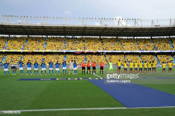 Players of Brazil and Colombia before a match between Colombia and Brazil as part of South American Qualifiers for Qatar 2022 at Estadio...