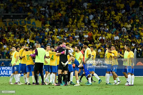 Players of Brazil celebrate after a match between Argentina and Brazil as part of FIFA 2018 World Cup Qualifiers at Mineirao Stadium on November 10...