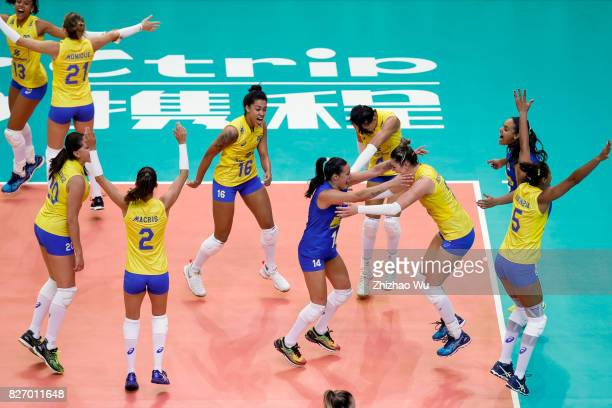 Players of Brazil celebrate after winning 2017 Nanjing FIVB World Grand Prix Finals between Italy and Brazil on August 6 2017 in Nanjing China