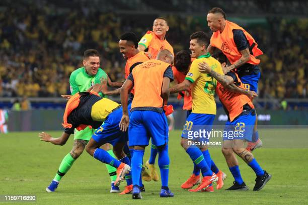 Players of Brazil celebrate after winning the Copa America Brazil 2019 Semi Final match between Brazil and Argentina at Mineirao Stadium on July 02...