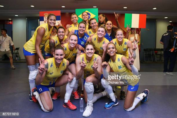Players of Brazil celebrate before the award ceremony 2017 Nanjing FIVB World Grand Prix Finals between Italy and Brazil on August 6 2017 in Nanjing...