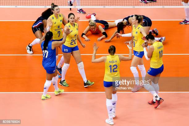 Players of Brazil celebrate during 2017 Nanjing FIVB World Grand Prix Finals between Brazil and Netherlands on August 3 2017 in Nanjing China