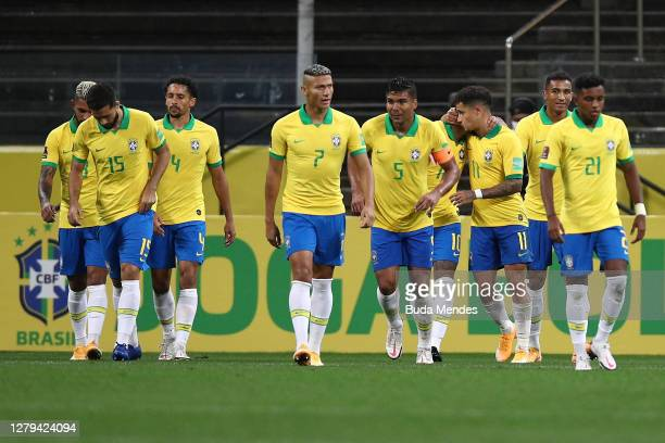 Players of Brazil celebrate the fifth goal of their team scored by Philippe Coutinho during a match between Brazil and Bolivia as part of South...