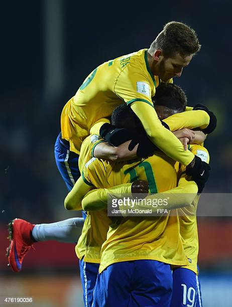 Players of Brazil celebrate the goal of Jaja during the FIFA U20 World Cup New Zealand 2015 Group E match between Brazil and Korea DPR at the...