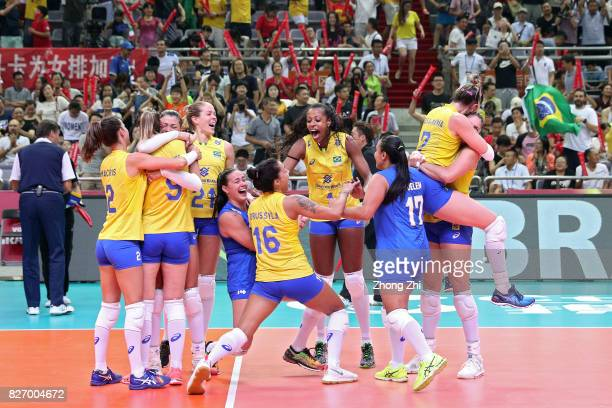 Players of Brazil celebrate winning the final match between Brazil and Italy during 2017 Nanjing FIVB World Grand Prix Finals on August 6 2017 in...